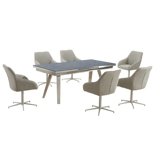 Grey textured glass dining table and 6 chairs