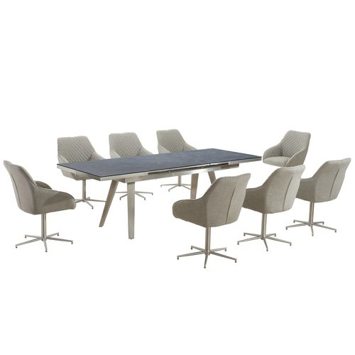 Grey textured glass dining table and 8 chairs
