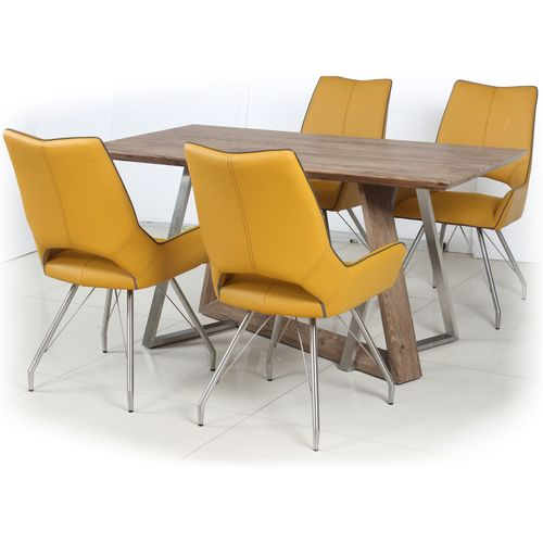 Rustic wood veneer dining table and 4 yellow chairs