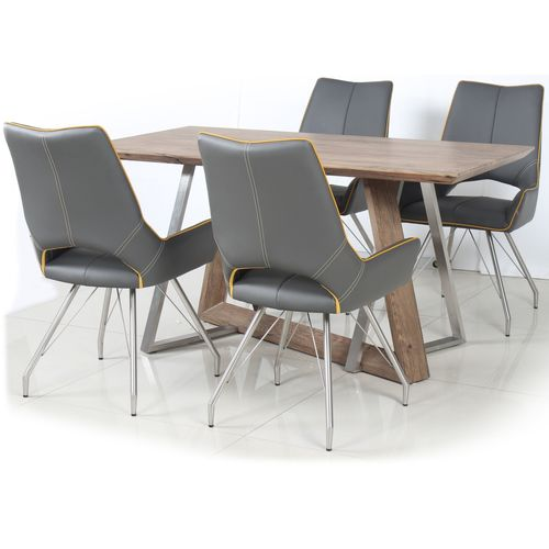Rustic wood veneer dining table and 4 grey chairs