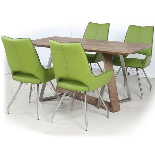 Rustic wood veneer dining table and 4 green chairs
