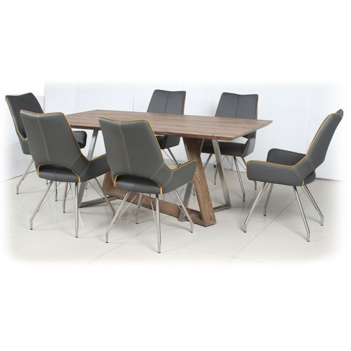 Rustic wood veneer dining table and 6 Grey chairs