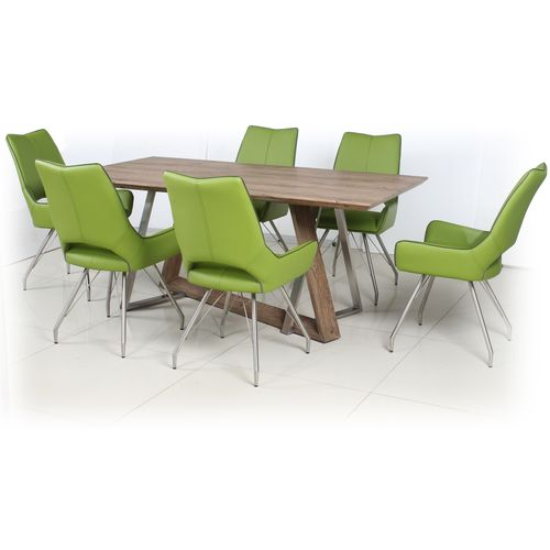 Rustic wood veneer dining table and 6 Green chairs
