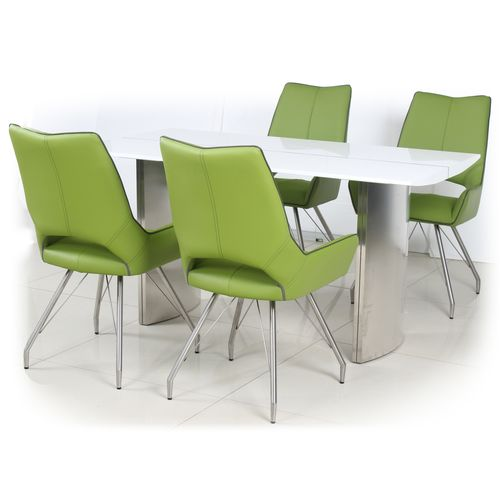 White high gloss dining table and 4 green chairs