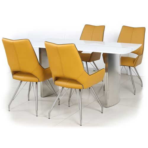White high gloss dining table and 4 yellow chairs