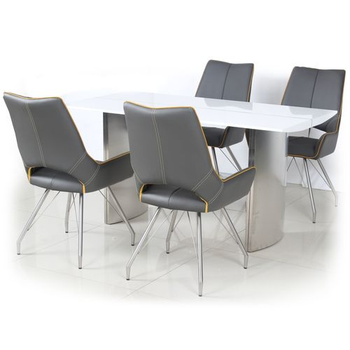 White high gloss dining table and 4 grey retro chairs