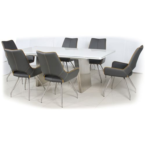 White high gloss dining table and 6 grey retro chairs