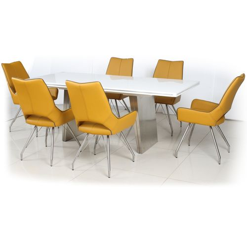 White high gloss dining table and 6 yellow chairs