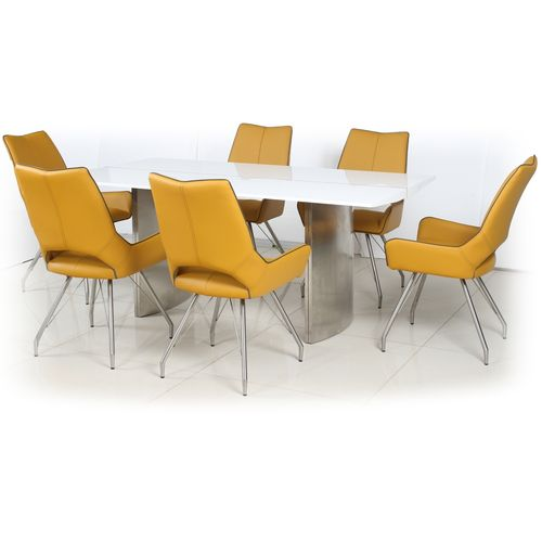 180cm White gloss dining table and 6 yellow chairs