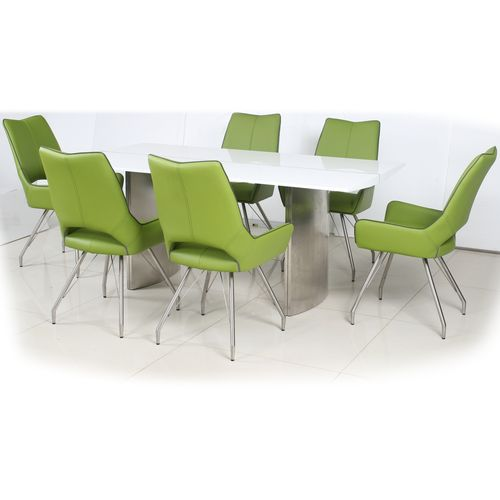 180cm White gloss dining table and 6 green chairs
