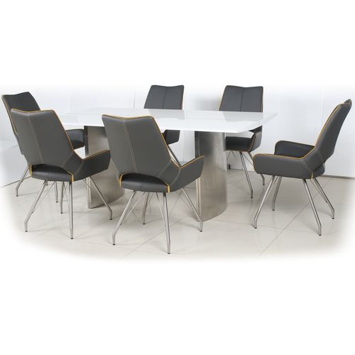 180cm White gloss dining table and 6 grey chairs