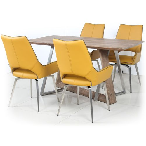 Wooden veneer dining table and 4 yellow chairs