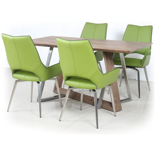 Wooden veneer dining table and 4 green chairs