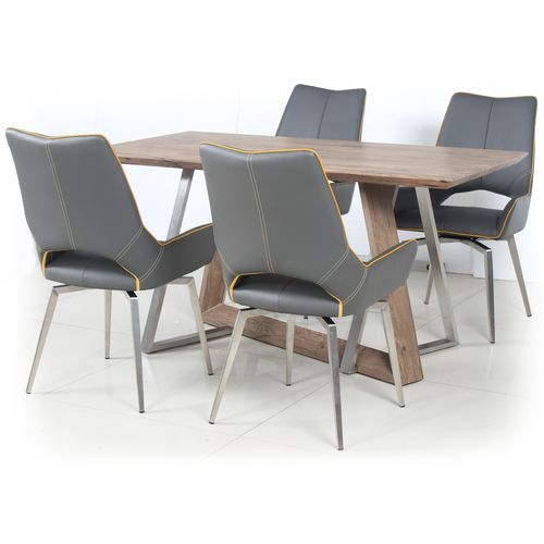 Wooden veneer dining table and 4 grey chairs