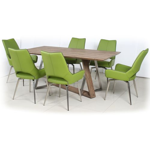 180cm Wooden veneer dining table and 6 green chairs