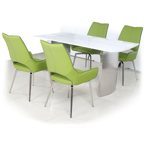 White gloss dining table and 4 green swivel chairs