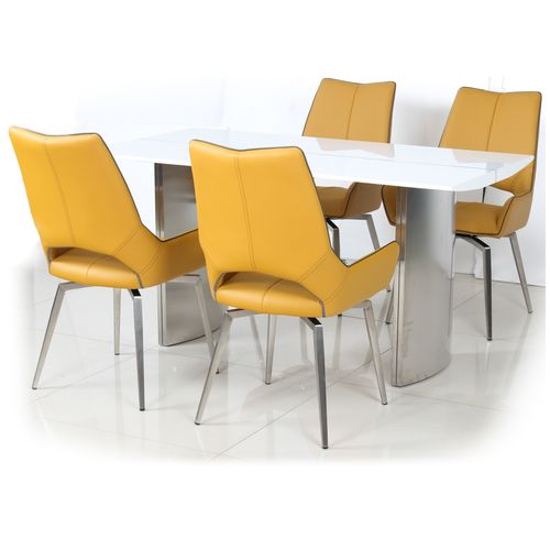 White gloss dining table and 4 yellow swivel chairs