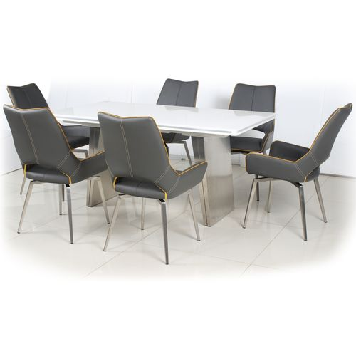 White gloss dining table and 6 grey swivel chairs