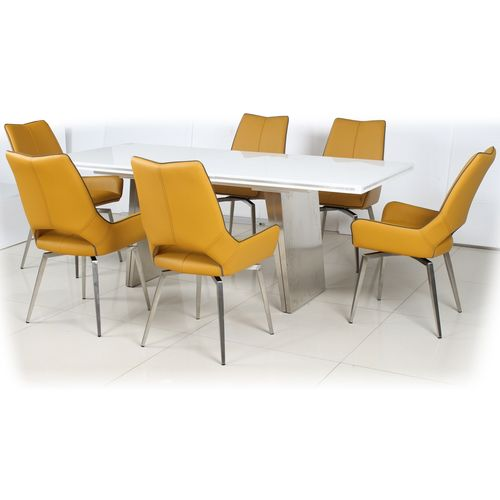White gloss dining table and 6 yellow swivel chairs