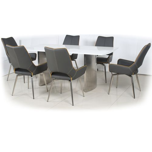 180cm White gloss dining table and 6 grey swivel chairs