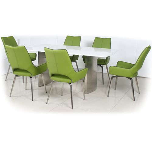 180cm White gloss dining table and 6 green swivel chairs