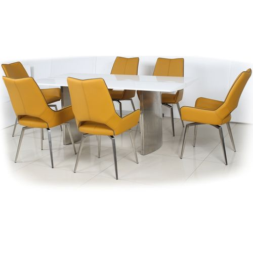 180cm White gloss dining table and 6 yellow swivel chairs