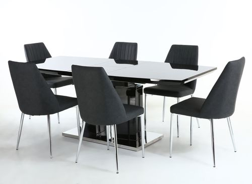 Black high gloss dining table and 6 grey fabric chairs