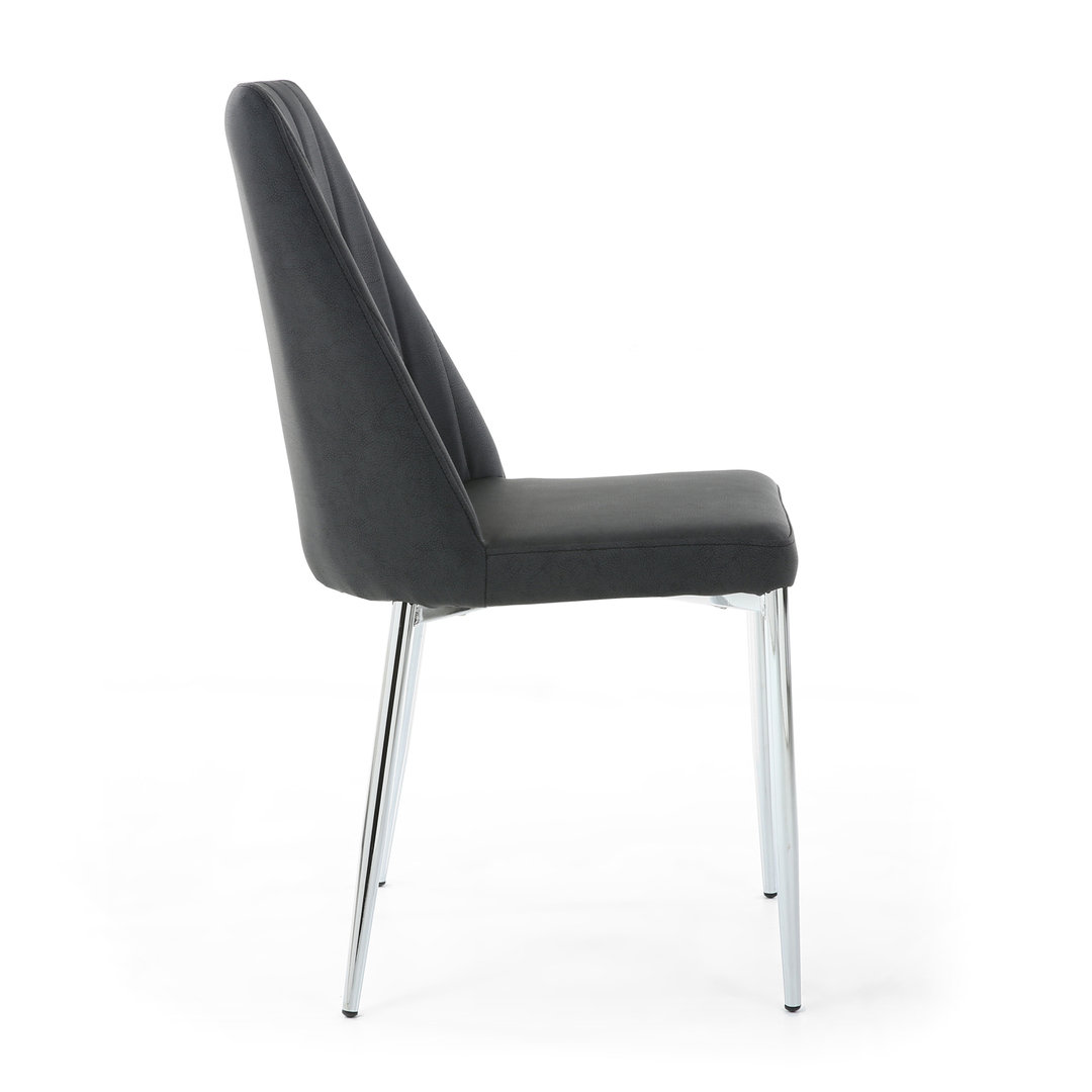Black High Gloss Dining Table Amp 6 Grey Fabric Chairs