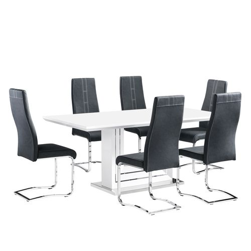 White high gloss dining table and 6 dark grey chairs