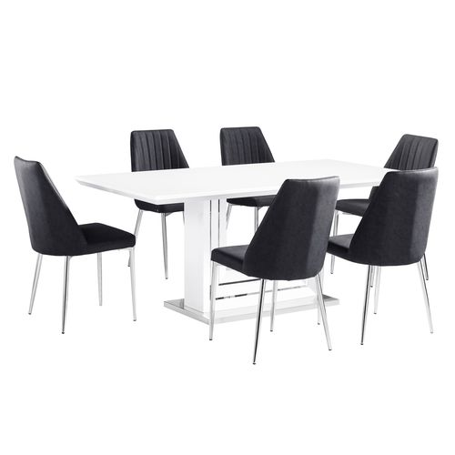 White high gloss dining table with 6 fabric chairs