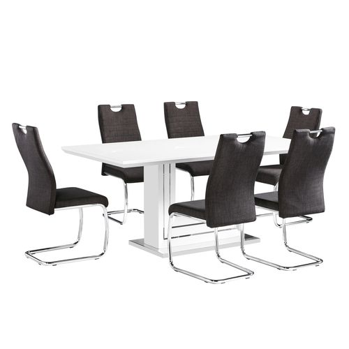 White high gloss dining table with 6 charcoal chairs