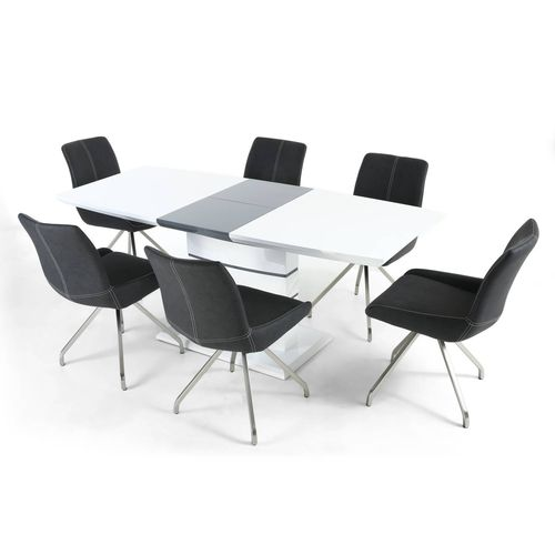 White with Grey high gloss dining table and 6 chairs