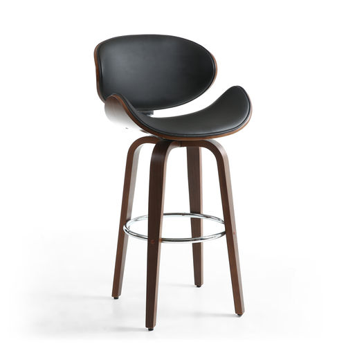 Black leather match bar chair mixed with walnut