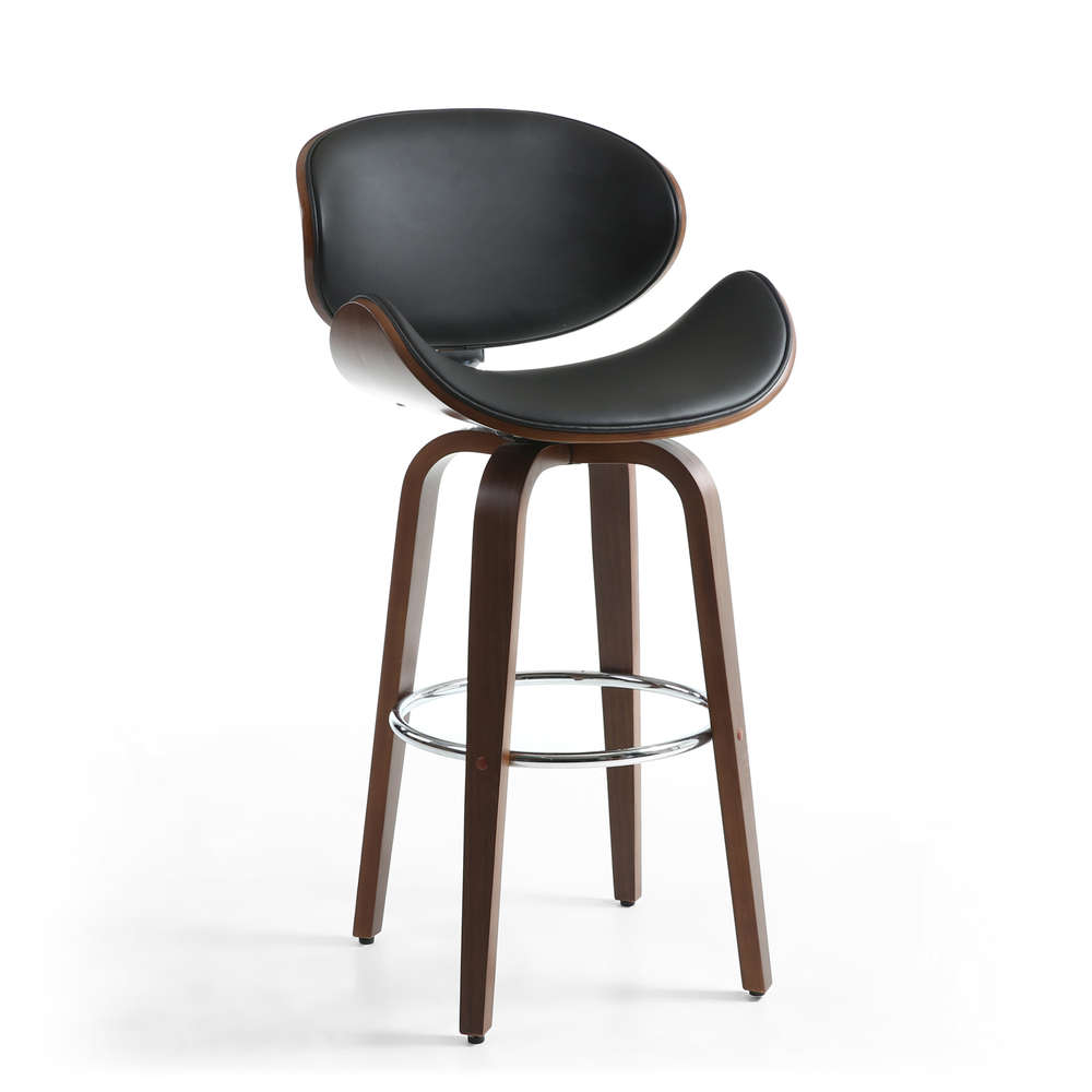 Enjoyable Black Leather Match Bar Chair Mixed With Walnut Homegenies Short Links Chair Design For Home Short Linksinfo