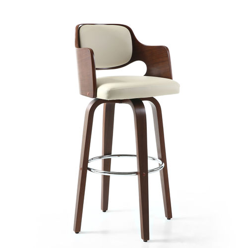 Cream leather match bar chair with walnut shaped back