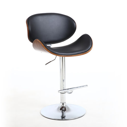 Curved black leather match bar stool