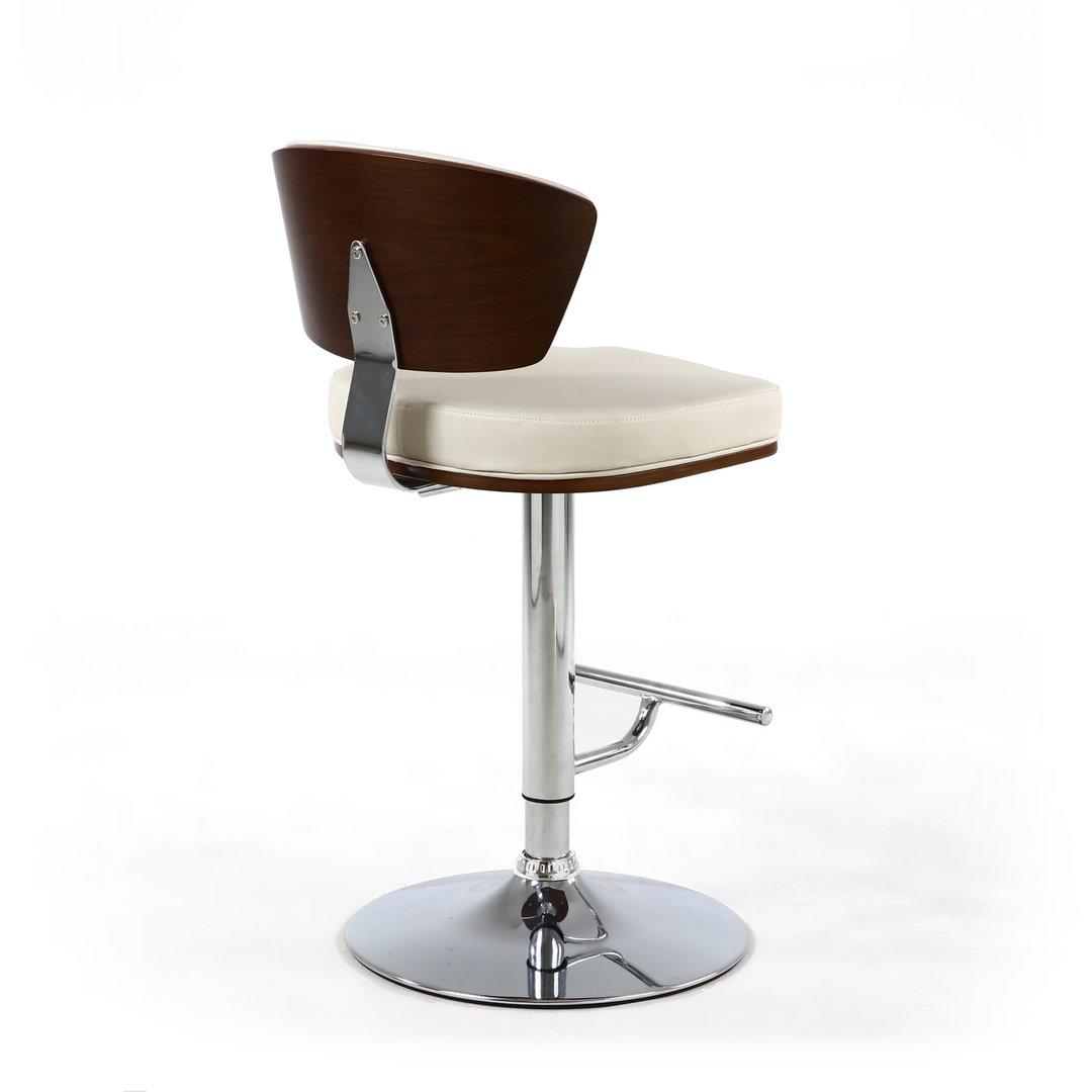 Enjoyable Cream Leather Match Bar Stool With Walnut Short Links Chair Design For Home Short Linksinfo