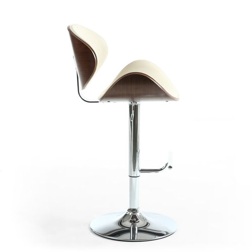 Curved Cream leather match bar stool