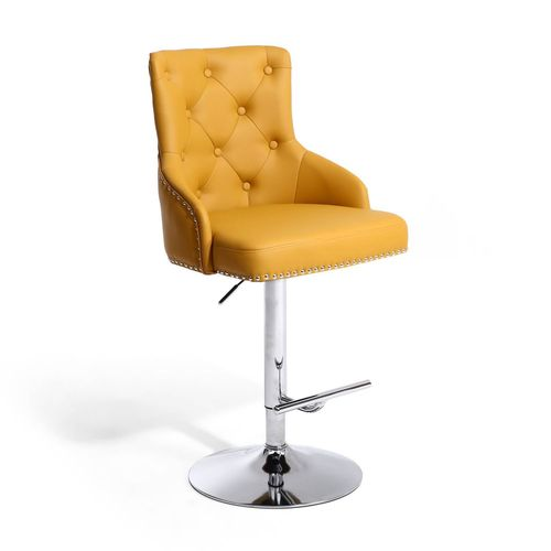 Yellow leather match bar stool with button back