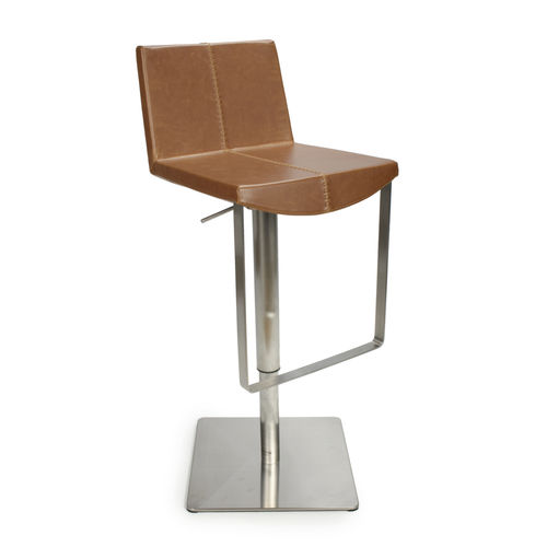 Square back and base brown tan leather match bar stool
