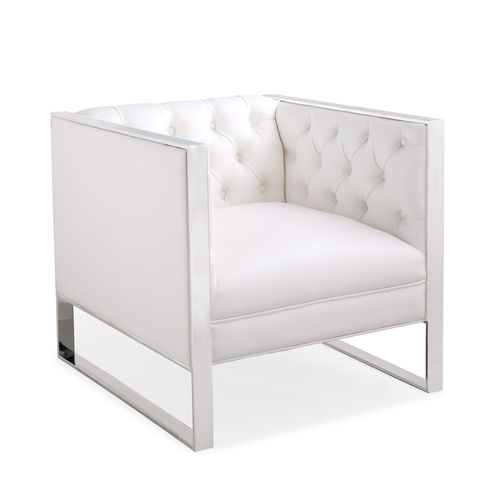 White leather match armchair with stainless frame