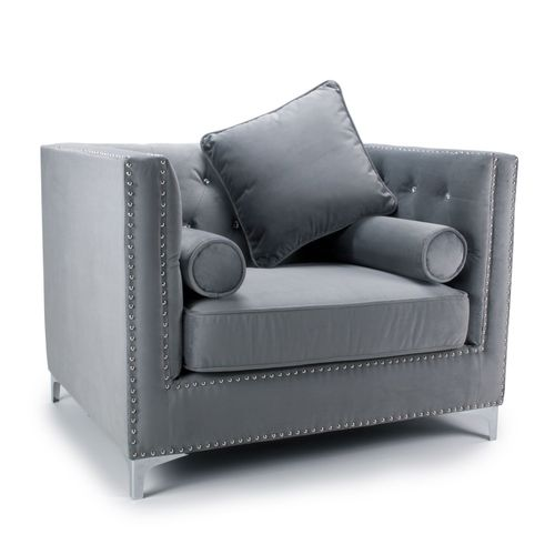 Square grey brushed velvet armchair