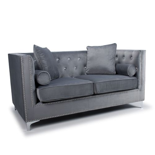Square grey brushed velvet 2 seater sofa