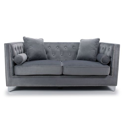 Square grey brushed velvet 3 seater sofa