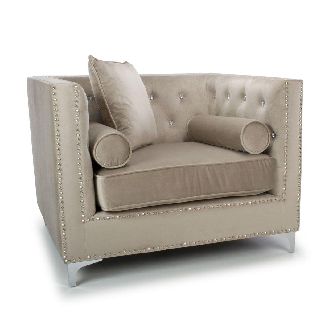 Square mink brushed velvet armchair - Homegenies