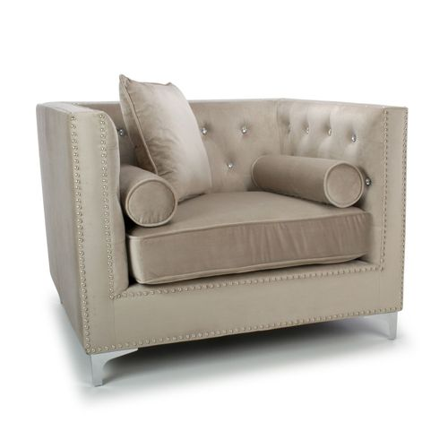 Square mink brushed velvet armchair