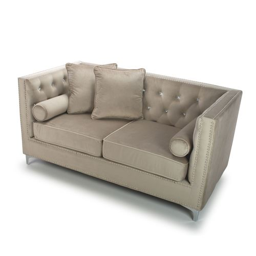 Square mink brushed velvet 2 seater sofa