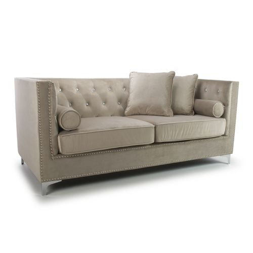Square mink brushed velvet 3 seater sofa