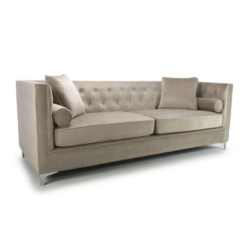 Square mink brushed velvet 4 seater sofa