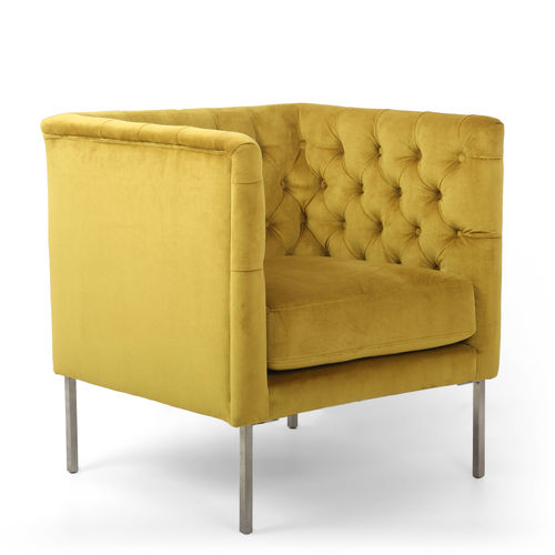 Golden brushed velvet armchair with button detail